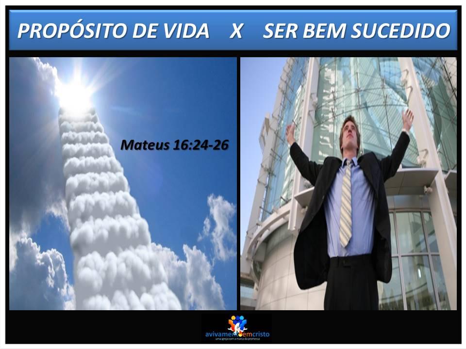Propósito de vida  X Ser bem sucedido